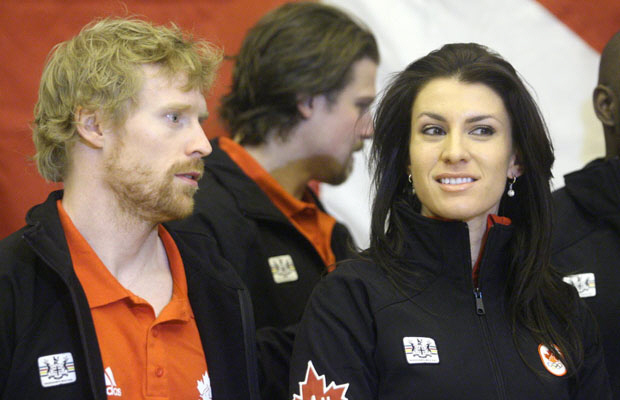 A file photo of Canadian skeleton team members Jon Montgomery, left, and Mellisa Hollingsworth.